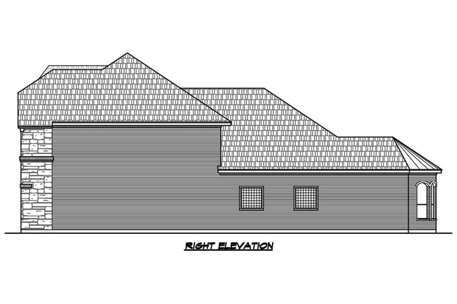 Home Plan Right Elevation of this 4-Bedroom,3552 Sq Ft Plan -195-1088