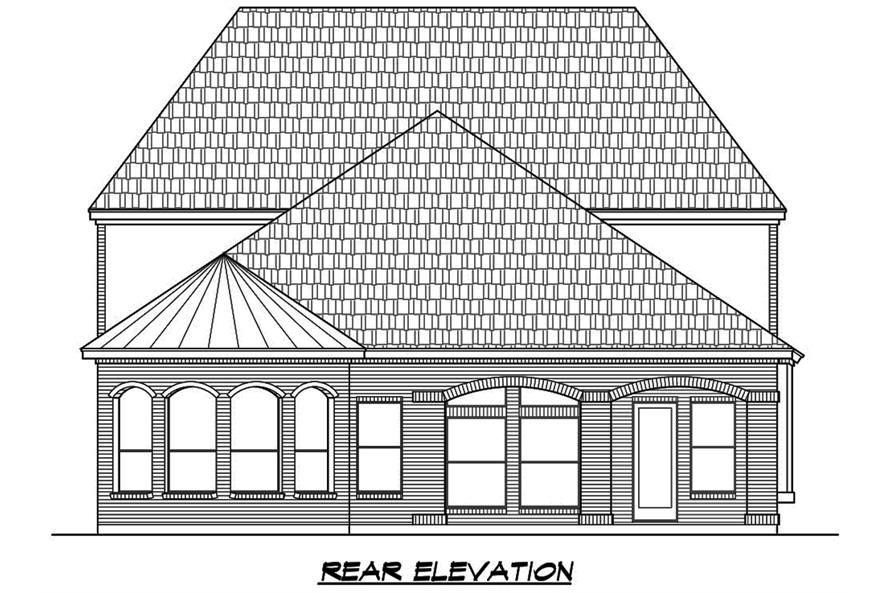Home Plan Rear Elevation of this 4-Bedroom,3552 Sq Ft Plan -195-1088