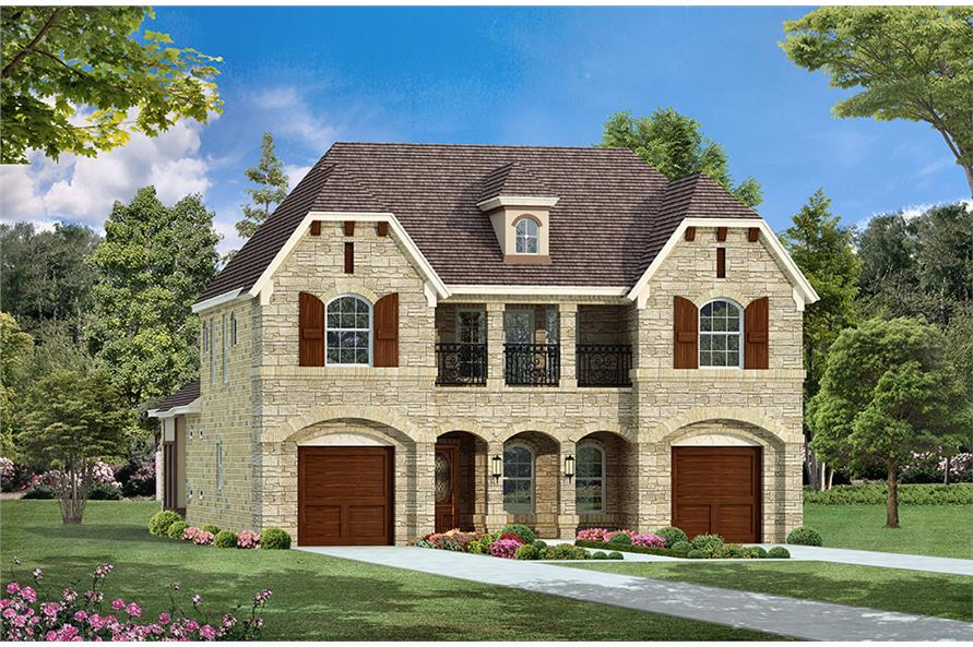 4-Bedroom, 3552 Sq Ft European House Plan - 195-1088 - Front Exterior