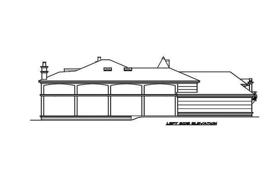 Home Plan Left Elevation of this 3-Bedroom,5343 Sq Ft Plan -195-1089