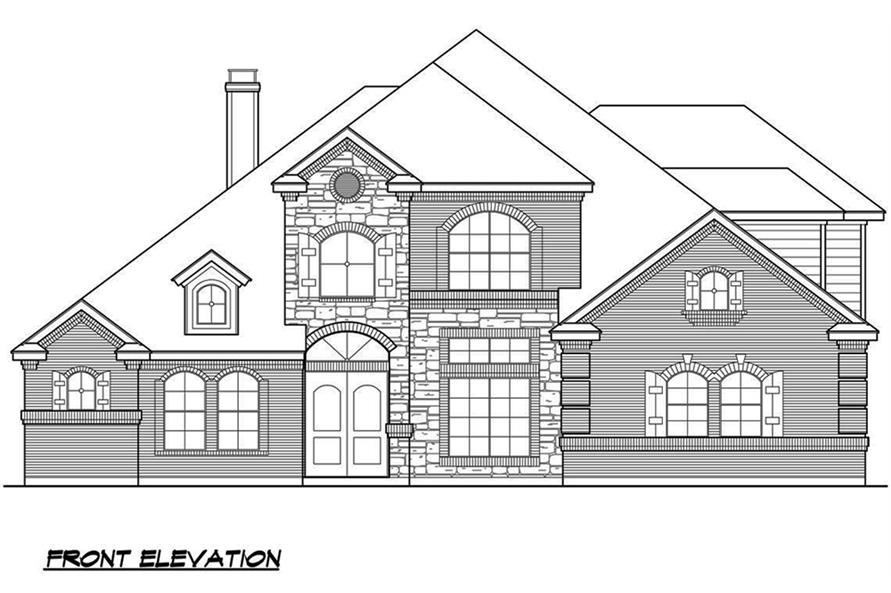 Home Plan Front Elevation of this 4-Bedroom,3692 Sq Ft Plan -195-1090