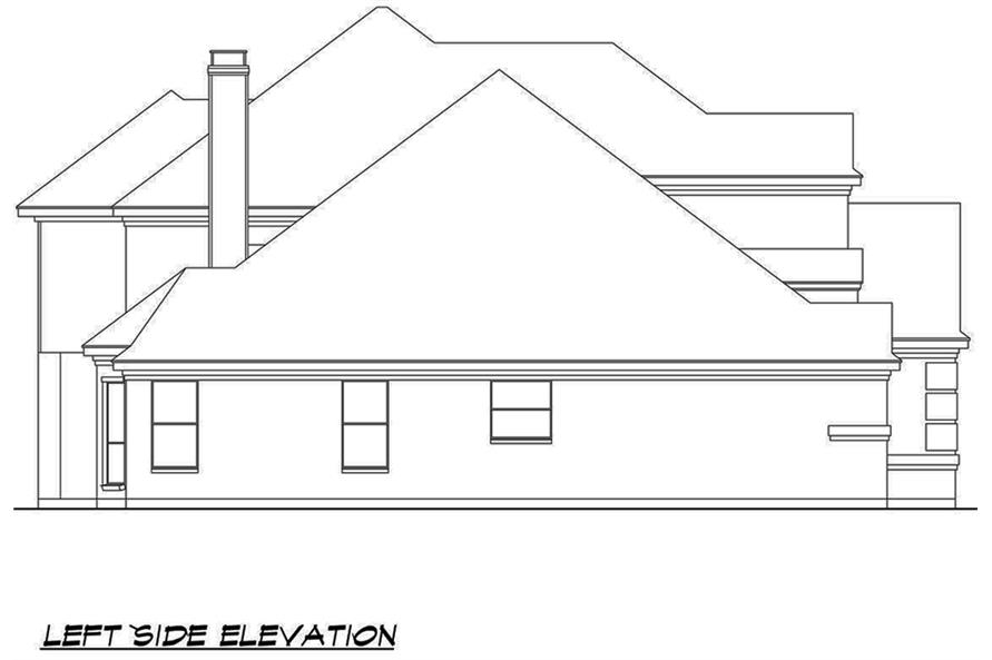 Home Plan Left Elevation of this 4-Bedroom,3692 Sq Ft Plan -195-1090
