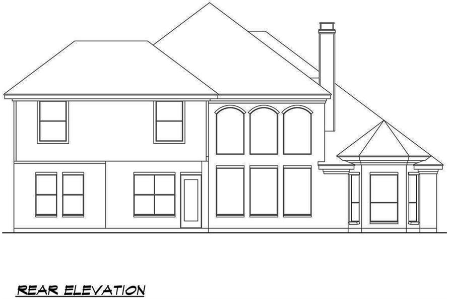 Home Plan Rear Elevation of this 4-Bedroom,3692 Sq Ft Plan -195-1090
