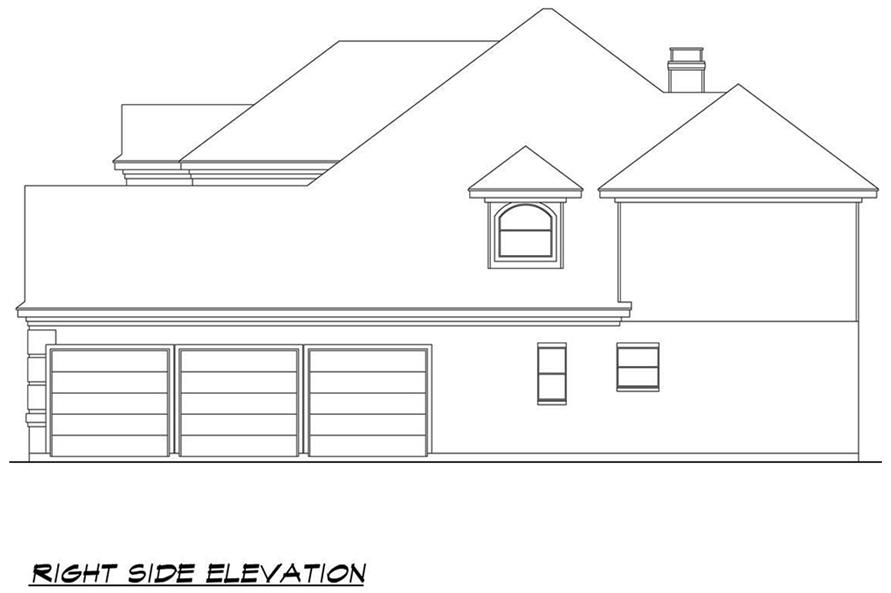 Home Plan Right Elevation of this 4-Bedroom,3692 Sq Ft Plan -195-1090