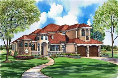 3-Bedroom, 4310 Sq Ft Mediterranean Home Plan - 195-1093 - Main Exterior