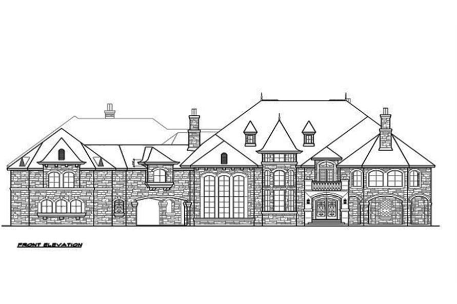 Home Plan Front Elevation of this 5-Bedroom,12268 Sq Ft Plan -195-1094