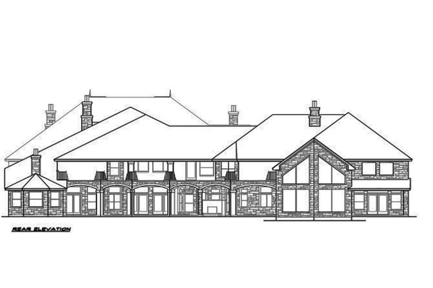 Home Plan Rear Elevation of this 5-Bedroom,12268 Sq Ft Plan -195-1094