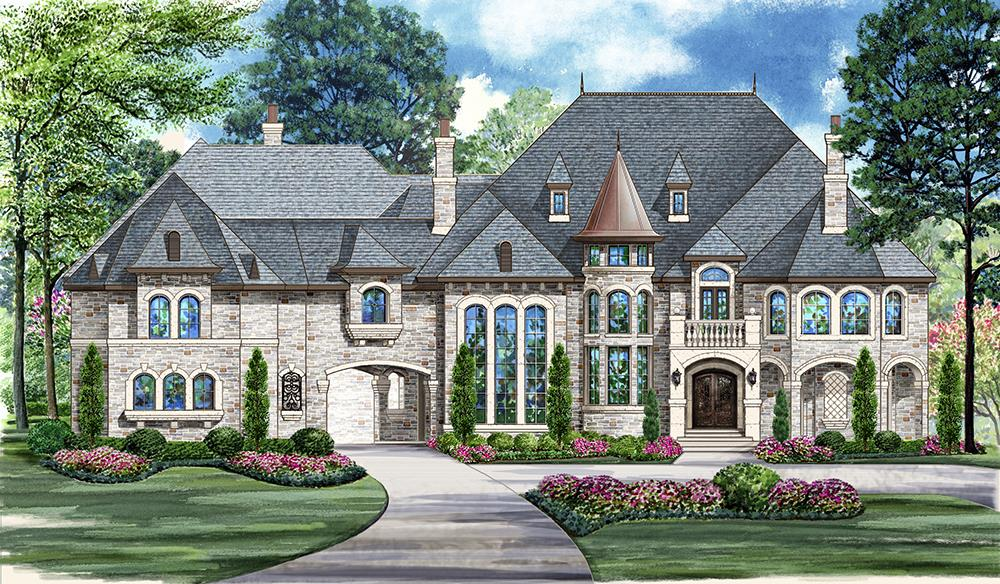 Front elevation of Mediterranean home (ThePlanCollection: House Plan #195-1094)