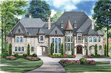 Front elevation of Mediterranean home (ThePlanCollection: House Plan #195-1092)