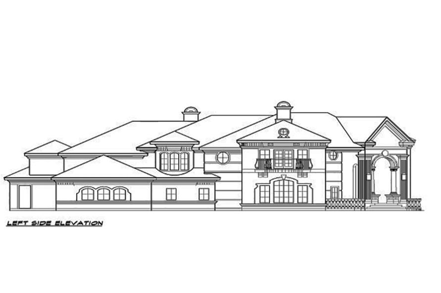 Home Plan Left Elevation of this 4-Bedroom,7199 Sq Ft Plan -195-1095