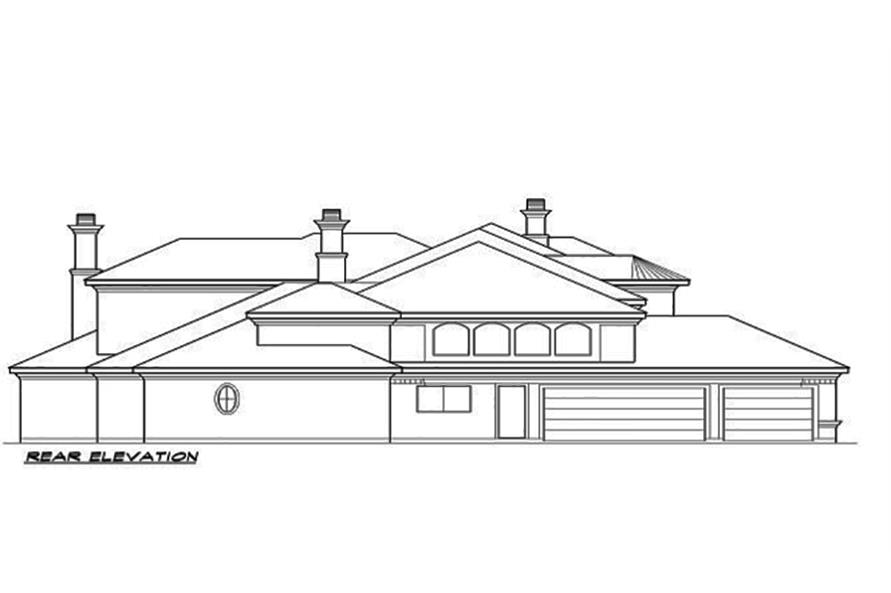 Home Plan Rear Elevation of this 4-Bedroom,7199 Sq Ft Plan -195-1095