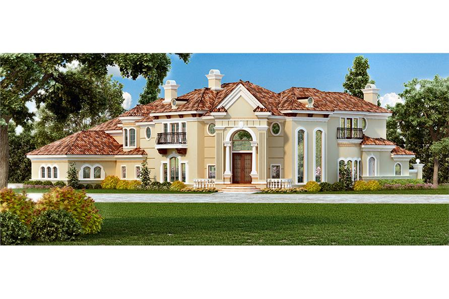 4-Bedroom, 7199 Sq Ft Mediterranean Home Plan - 195-1095 - Main Exterior