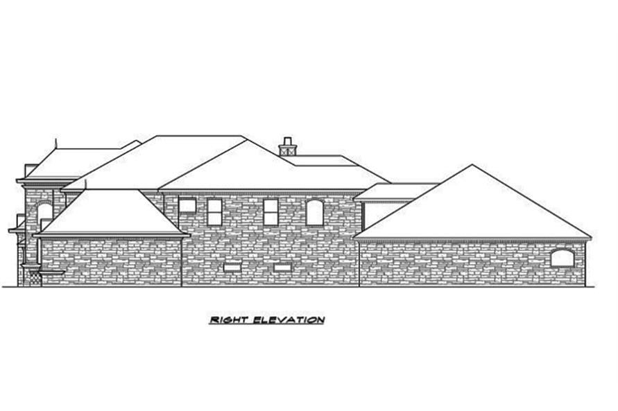 Home Plan Right Elevation of this 5-Bedroom,5462 Sq Ft Plan -195-1096