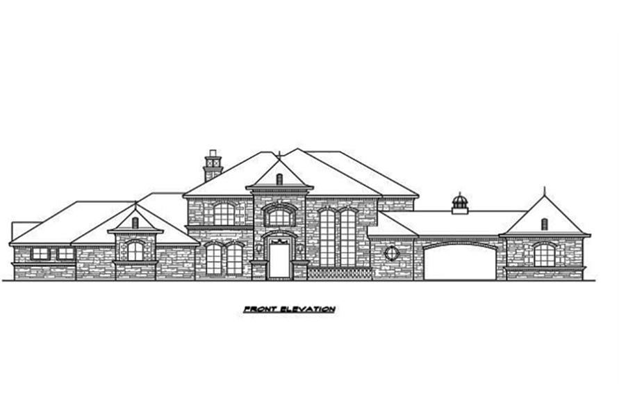 Home Plan Front Elevation of this 5-Bedroom,5462 Sq Ft Plan -195-1096