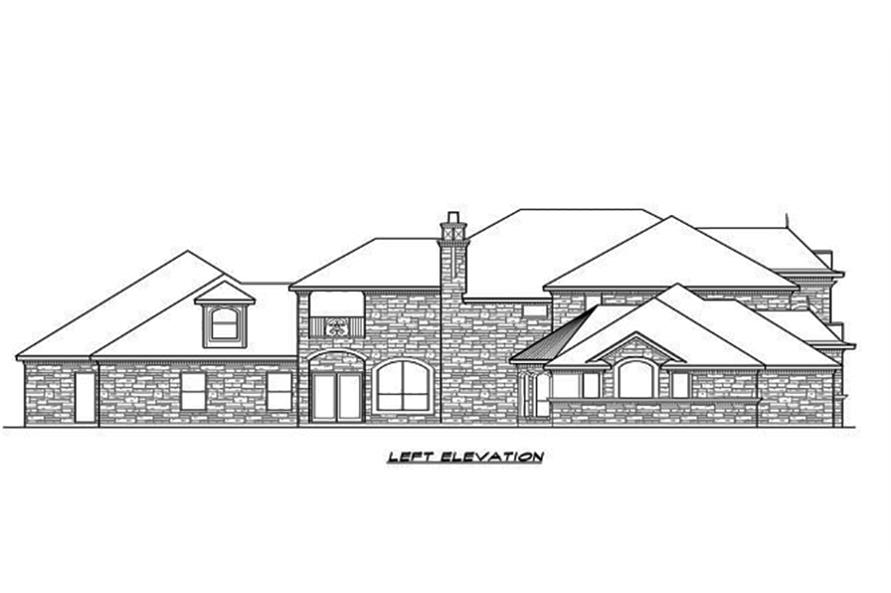 Home Plan Left Elevation of this 5-Bedroom,5462 Sq Ft Plan -195-1096