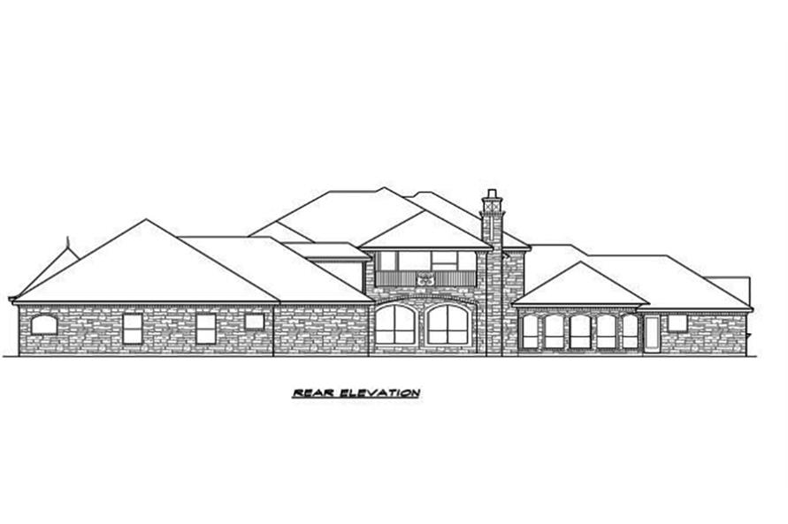 Home Plan Rear Elevation of this 5-Bedroom,5462 Sq Ft Plan -195-1096
