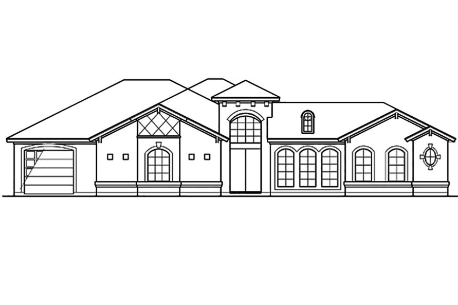 Home Plan Front Elevation of this 4-Bedroom,3242 Sq Ft Plan -195-1098