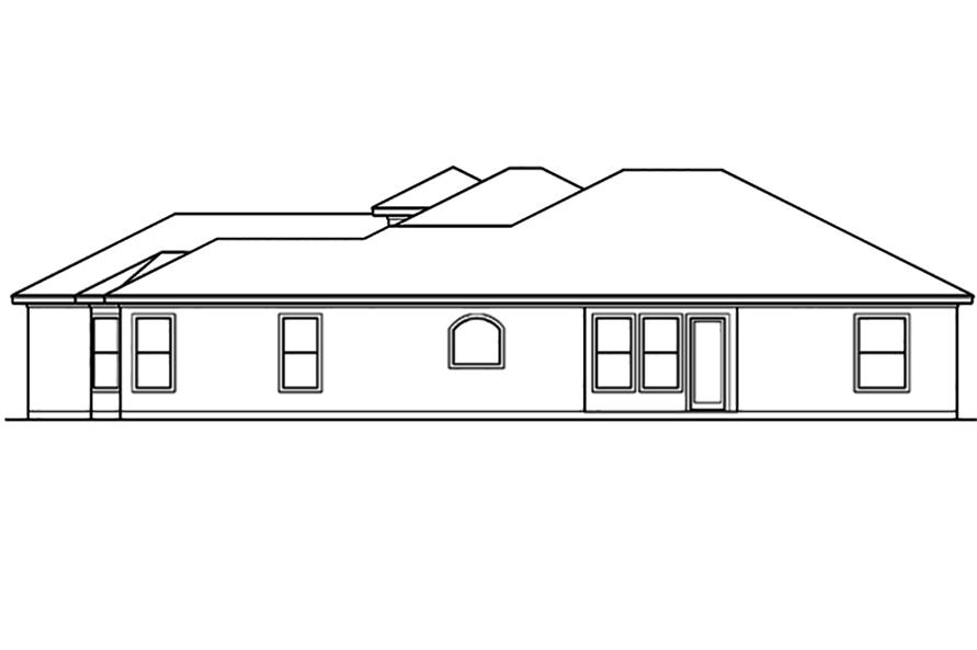 Home Plan Rear Elevation of this 4-Bedroom,3242 Sq Ft Plan -195-1098