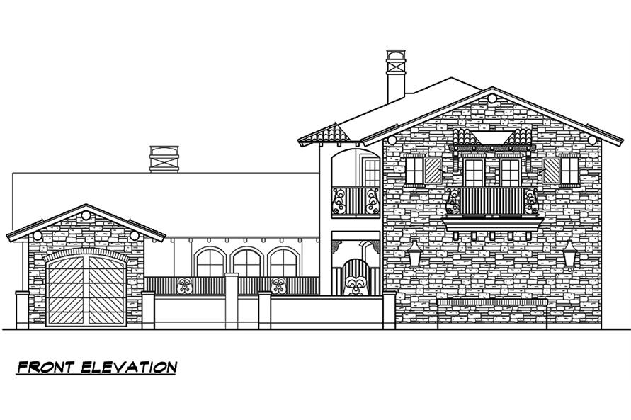 Home Plan Front Elevation of this 4-Bedroom,3671 Sq Ft Plan -195-1099