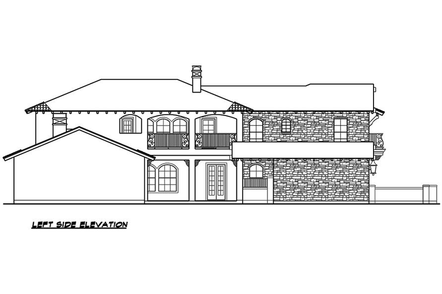 Home Plan Left Elevation of this 4-Bedroom,3671 Sq Ft Plan -195-1099