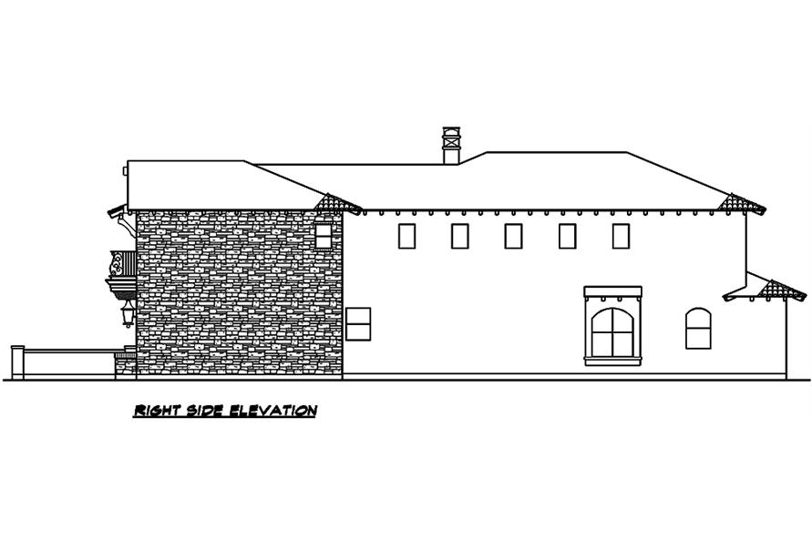 Home Plan Right Elevation of this 4-Bedroom,3671 Sq Ft Plan -195-1099