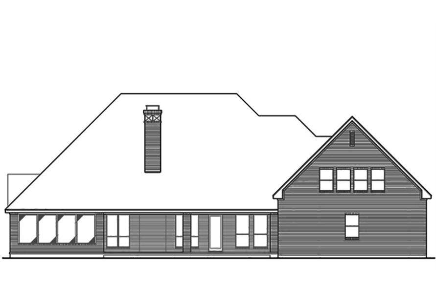 Home Plan Rear Elevation of this 3-Bedroom,4461 Sq Ft Plan -195-1103