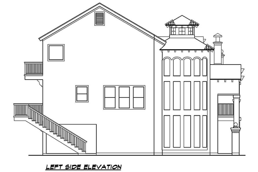 Home Plan Left Elevation of this 3-Bedroom,3596 Sq Ft Plan -195-1107