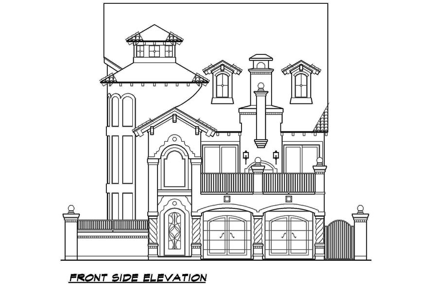 Home Plan Front Elevation of this 3-Bedroom,3596 Sq Ft Plan -195-1107