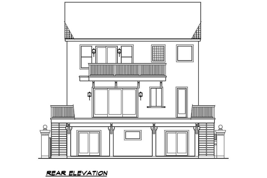 Home Plan Rear Elevation of this 3-Bedroom,3596 Sq Ft Plan -195-1107
