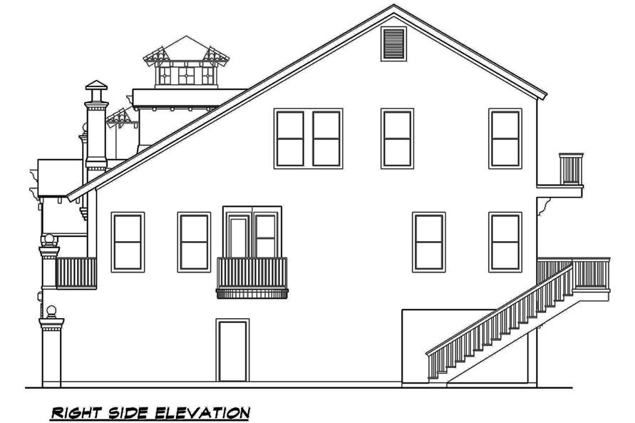 Home Plan Right Elevation of this 3-Bedroom,3596 Sq Ft Plan -195-1107