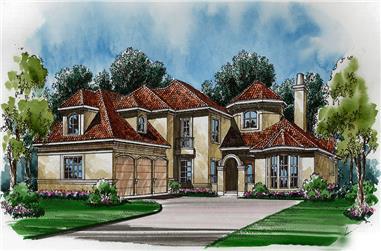 3-Bedroom, 3689 Sq Ft Mediterranean House Plan - 195-1108 - Front Exterior