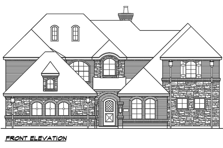 Home Plan Front Elevation of this 4-Bedroom,4117 Sq Ft Plan -195-1111