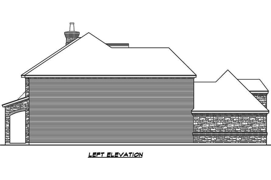 Home Plan Left Elevation of this 4-Bedroom,4117 Sq Ft Plan -195-1111