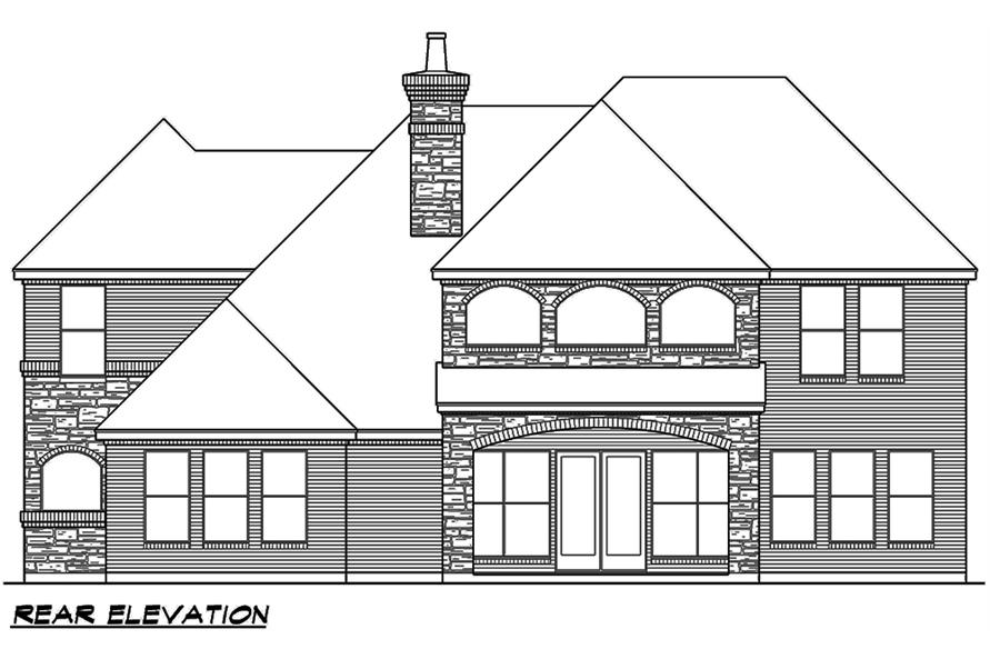 Home Plan Rear Elevation of this 4-Bedroom,4117 Sq Ft Plan -195-1111