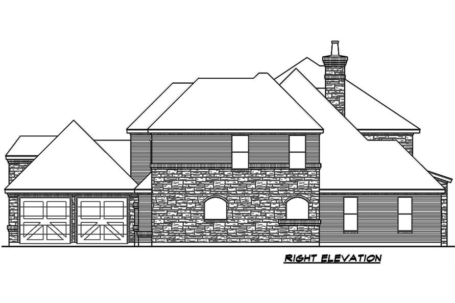 Home Plan Right Elevation of this 4-Bedroom,4117 Sq Ft Plan -195-1111