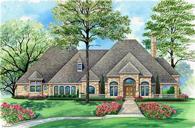 Front elevation of Mediterranean home (ThePlanCollection: House Plan #195-1115)
