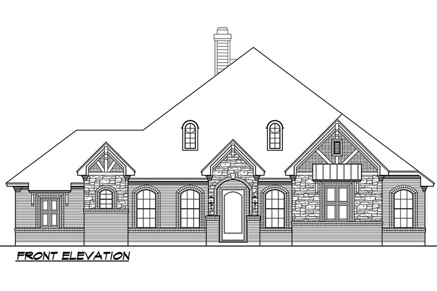 Home Plan Front Elevation of this 5-Bedroom,3093 Sq Ft Plan -195-1118