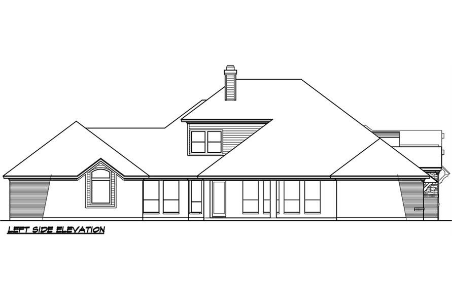 Home Plan Left Elevation of this 5-Bedroom,3093 Sq Ft Plan -195-1118
