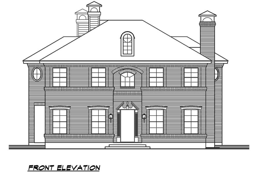 Home Plan Front Elevation of this 4-Bedroom,3525 Sq Ft Plan -195-1119