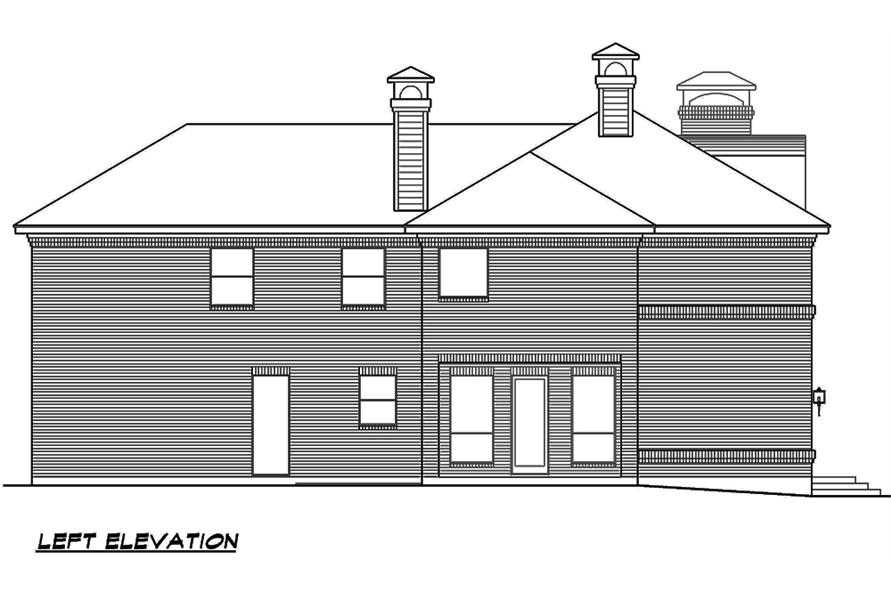Home Plan Left Elevation of this 4-Bedroom,3525 Sq Ft Plan -195-1119