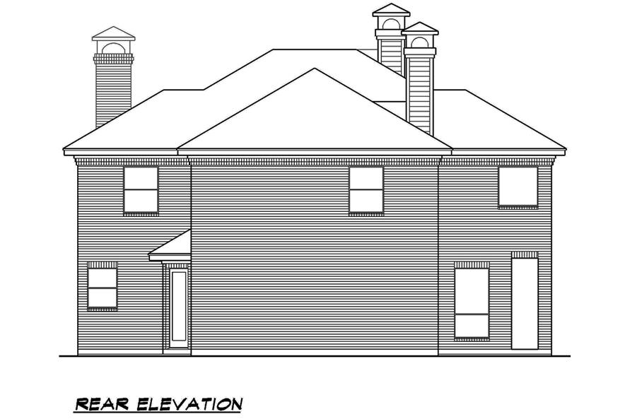 Home Plan Rear Elevation of this 4-Bedroom,3525 Sq Ft Plan -195-1119