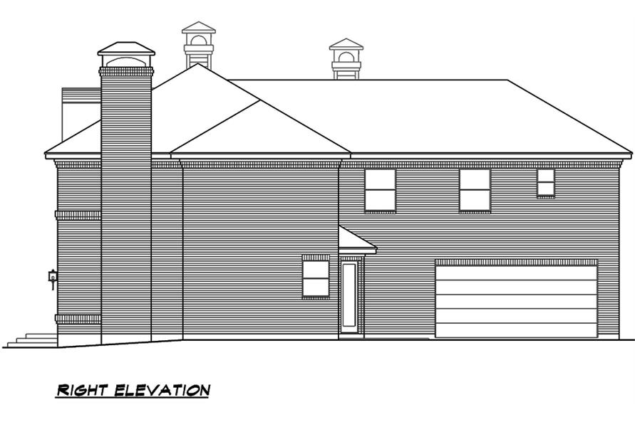 Home Plan Right Elevation of this 4-Bedroom,3525 Sq Ft Plan -195-1119