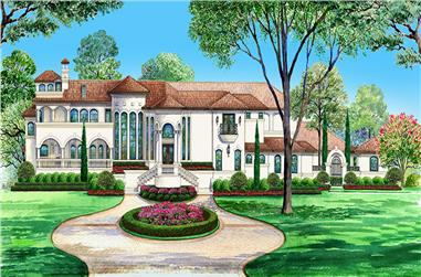 Front elevation of Mediterranean home (ThePlanCollection: House Plan #195-1120)