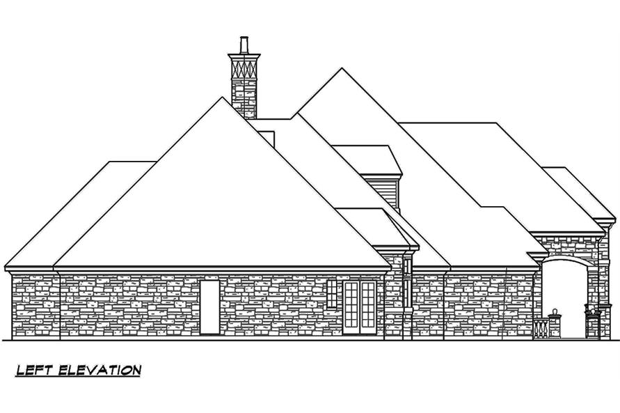 Home Plan Left Elevation of this 4-Bedroom,4536 Sq Ft Plan -195-1121