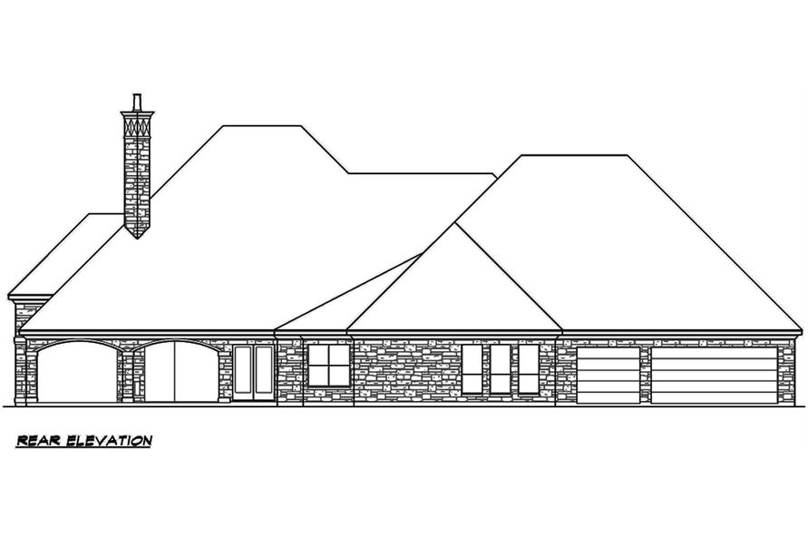 Home Plan Rear Elevation of this 4-Bedroom,4536 Sq Ft Plan -195-1121