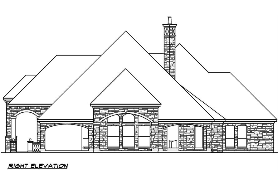 Home Plan Right Elevation of this 4-Bedroom,4536 Sq Ft Plan -195-1121