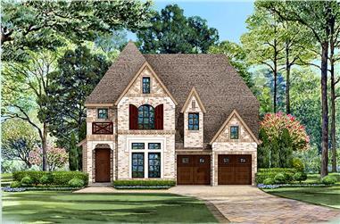 3-Bedroom, 3436 Sq Ft Tudor Home Plan - 195-1122 - Main Exterior
