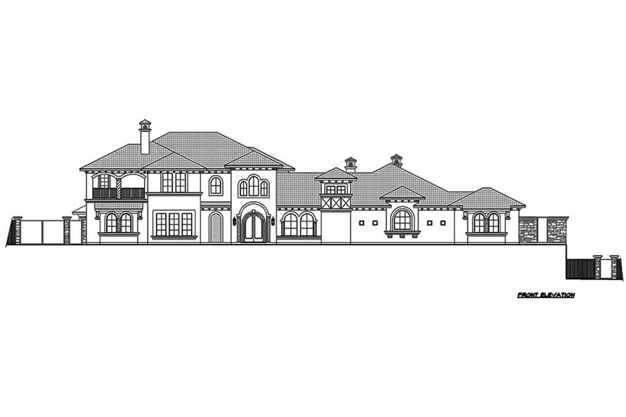 Home Plan Front Elevation of this 4-Bedroom,8647 Sq Ft Plan -195-1126