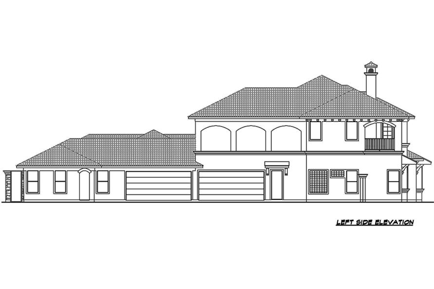 Home Plan Left Elevation of this 4-Bedroom,8647 Sq Ft Plan -195-1126