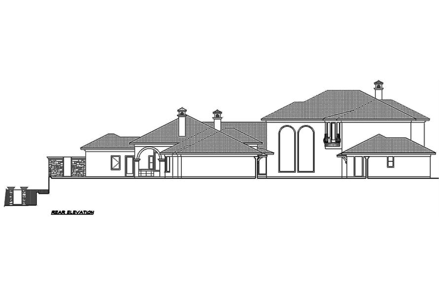 Home Plan Rear Elevation of this 4-Bedroom,8647 Sq Ft Plan -195-1126